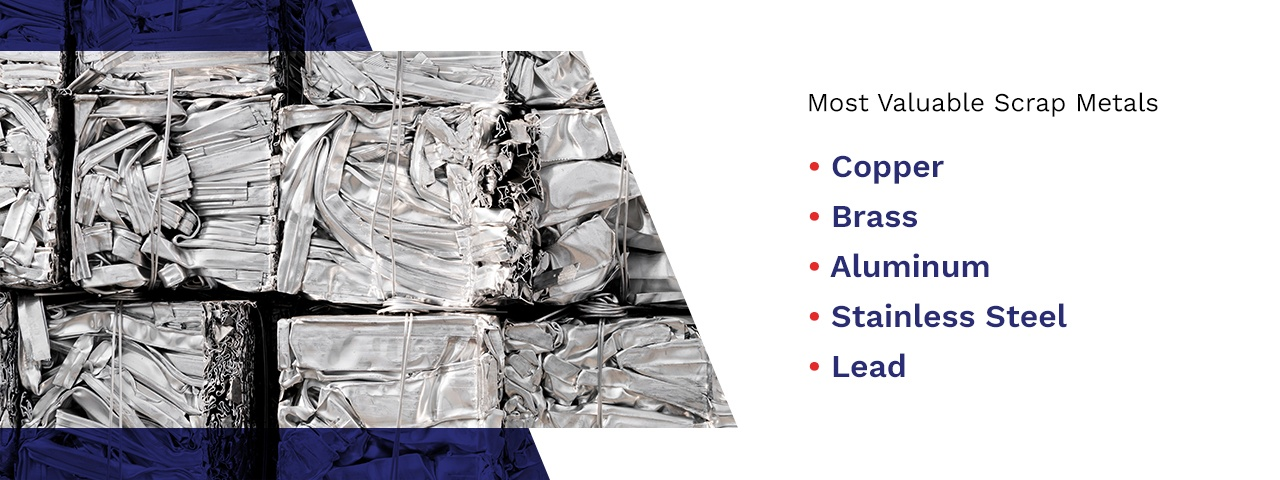 Compacted scrap metal with a list of most valuable scrap metals